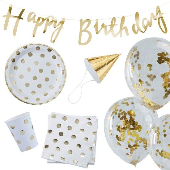 Party in a Box Verjaardagsfeestpakket- Goud (16 personen) Valentinaa