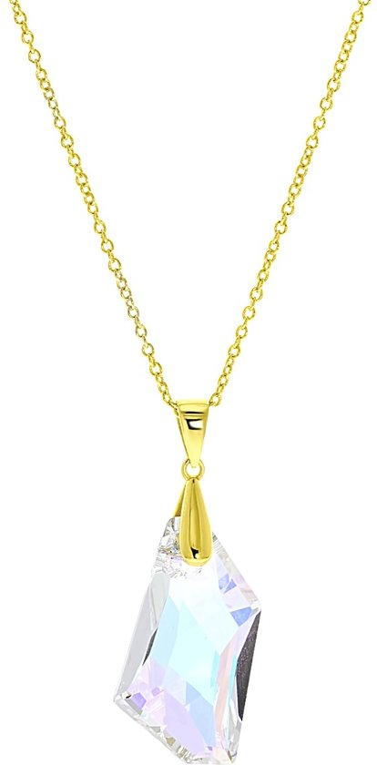 Lucardi Kettingen - Zilveren ketting&hanger gold Swarovski kristal AB