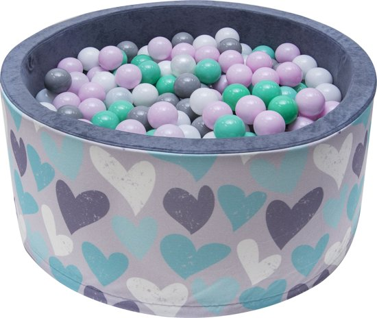 Ballenbak | Hartjes incl.  200 witte, grijze, roze en groene ballen