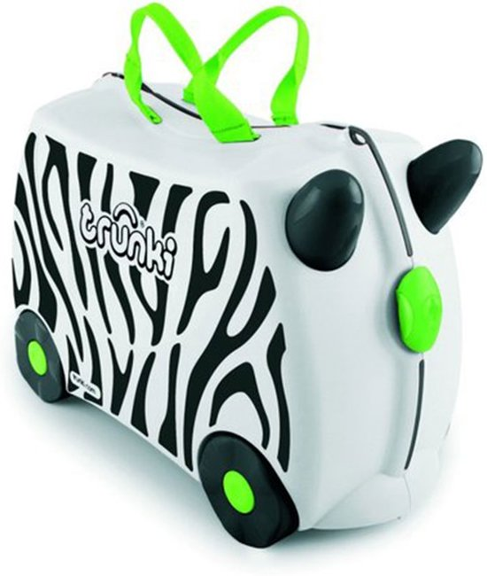 Trunki Ride-On Zebra Zimba Kinderkoffer - 46 cm - Wit/Zwart