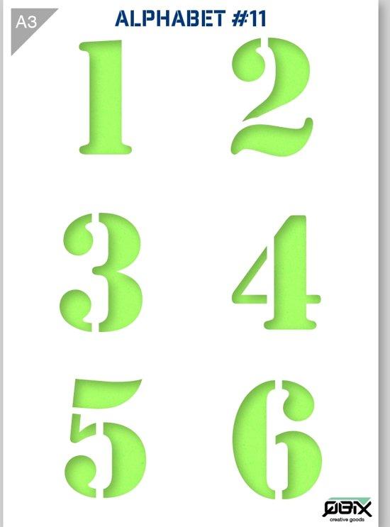cijfer sjabloon 1 2 3 4 5 6 karton stencil a3 42 x 29 7 cm cijfers zijn 9cm. Black Bedroom Furniture Sets. Home Design Ideas