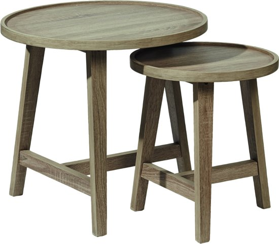 Pomax Nordic - set 2 nesting tafels - DIA 57 x H 53 cm - MDF/eik fineer finish