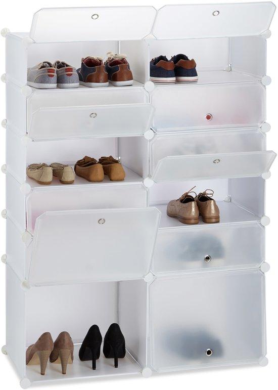 Schoenenkast Ook Voor Laarzen.Bol Com Relaxdays Schoenenrek Kunststof Xxl 12 Vakken