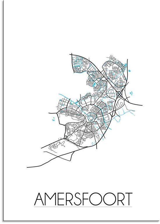 Plattegrond Amersfoort Stadskaart poster DesignClaud - Wit - A2 + fotolijst wit