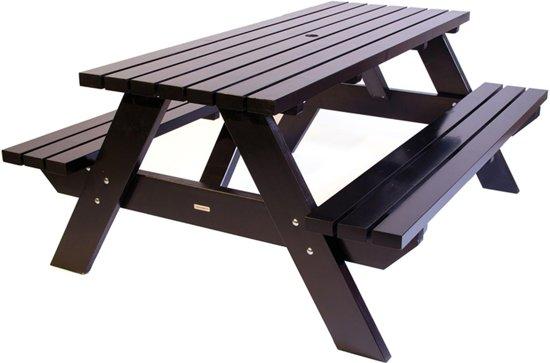 MaximaVida luxe picknicktafel zwart 180 cm - extra brede poten en dwarsbalken- Sherwin-Williams verf
