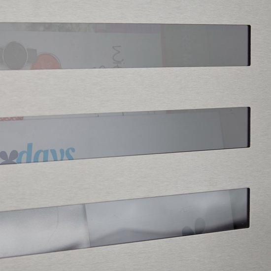 relaxdays brievenbus met krantenrol   naamschild rvs, venster, a4 formaat