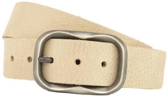 simpele taupe damesriem met vintage ovale gesp - Maat: 105 cm