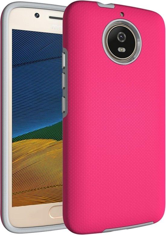 Let op type!! Voor Motorola Moto G5s antislip Armor Cover beschermhoes terug Shell(Magenta)