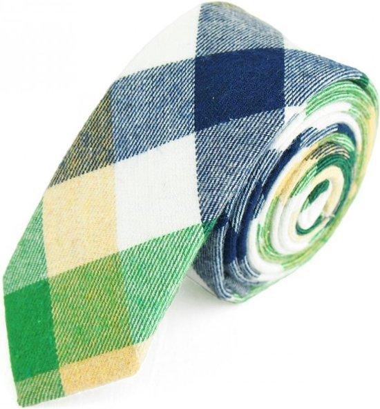 Stropdas Extra Smal - 5 cm - Skinny Tie - Groen Geruit - Katoen - Heren