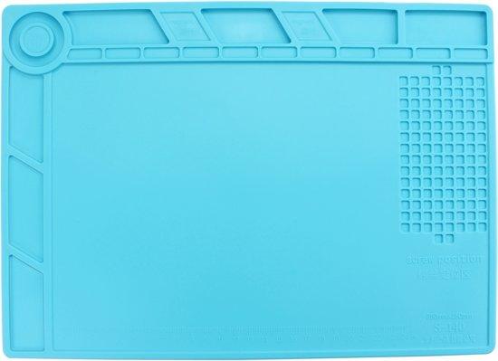 Let op type!! Maintenance Platform High Temperature Heat-resistant Repair Insulation Pad Silicone Mats  Size: 34.8cm x 25cm (Blue)