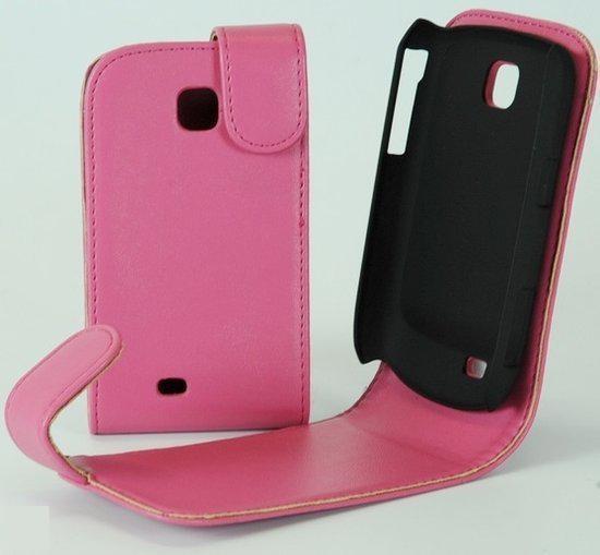 Faux Flip case hoesje Samsung S5570 Galaxy Mini roze