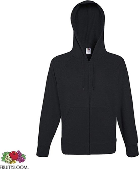 Fruit of the Loom hoodie vest met rits lichtgewicht Maat M Kleur Black