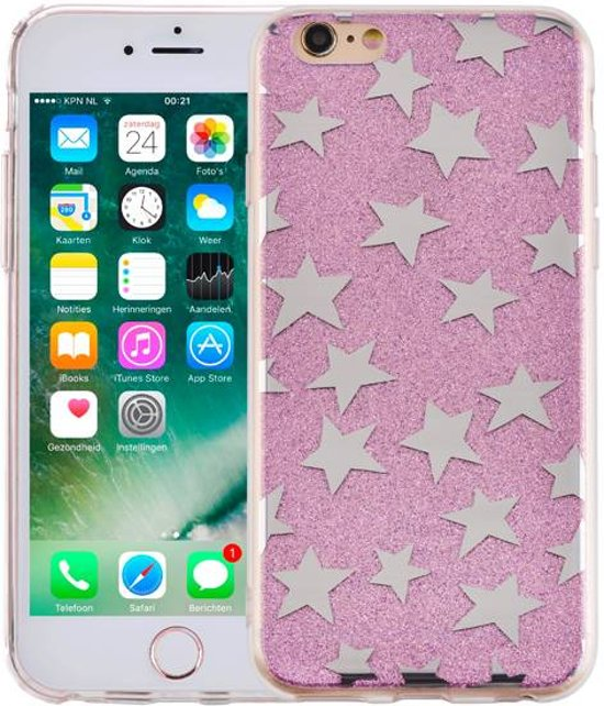iParts4u iPhone 6 en 6S Hardcase Glitter Sterretjes Paars in Kosberg