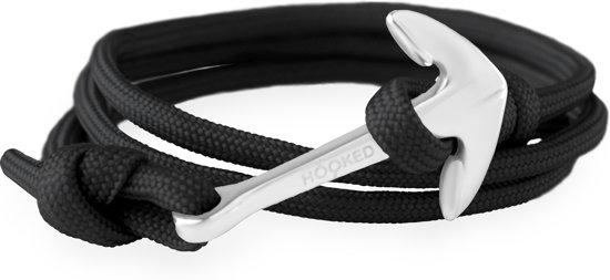 Hooked Concepts - Paracord wikkelarmband - Black - Anker zilverkleurig - ASR16 (Lengte: verstelbaar)