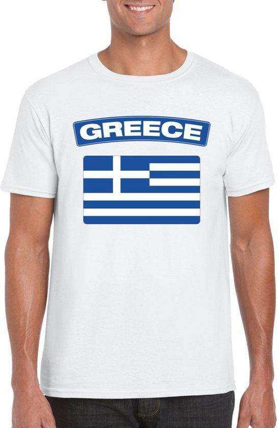 Griekenland t-shirt met Griekse vlag wit heren 2XL