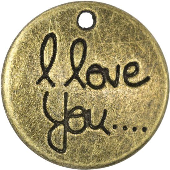 Bedel I Love You (20 x 3 mm) Brons (5 Stuks)