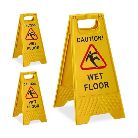 "relaxdays 3 x waarschuwingsbord ""Caution Wet Floor"" - klapbaar - gladde vloer bord - geel"