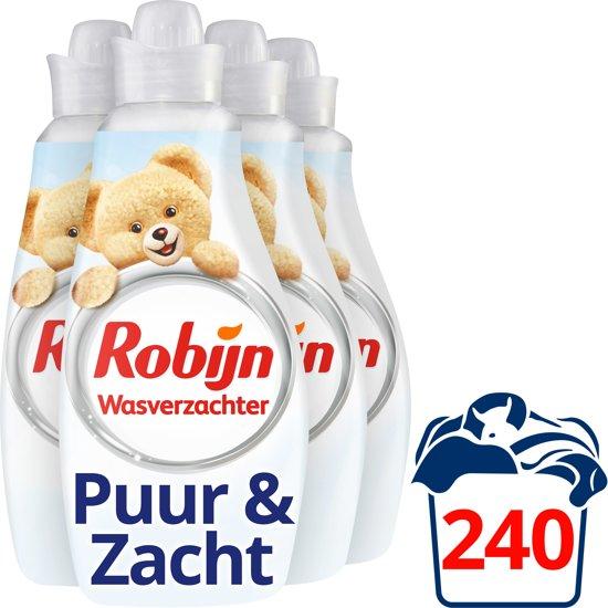 Robijn Puur & Zacht Vloeibaar - 216 wasbeurten - 4 x 1,5 l - Wasverzachter - Voordeelverpakking