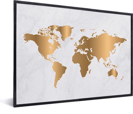 Wereldkaart Goud Marmer Wanddecoratie in lijst zwart 40x30 cm