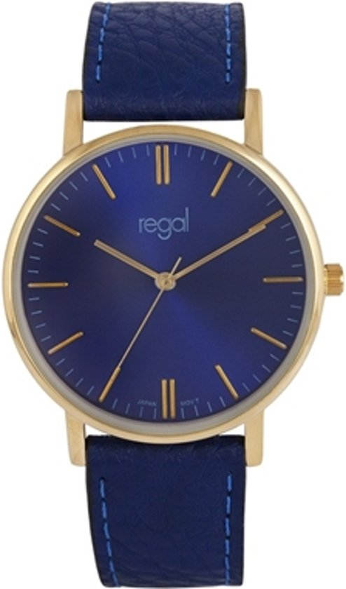 Regal Slimline Trendy Edition R15288-333 - Horloge - Leer - Blauw - 39 mm