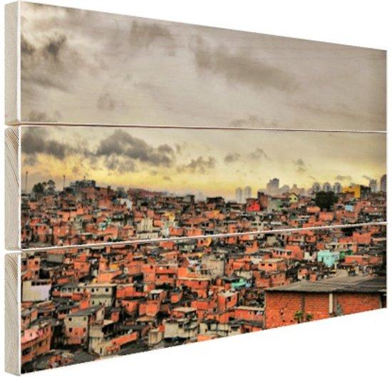 Favela Paraisopolis Hout 80x60 cm - Foto print op Hout (Wanddecoratie)