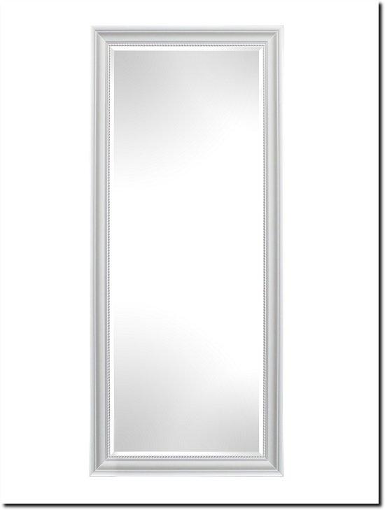 Wand Spiegel Nino met houten rand Wit Buitenmaat 75x136cm