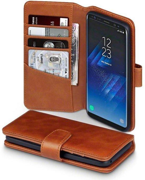 61491cb9eeb Hoesje voor Samsung Galaxy S8, echt lederen 3-in-1 bookcase, cognac