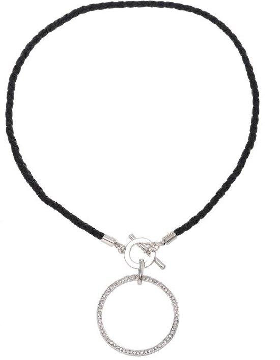 Korte ketting zilverkleur 40cm lengte met ronde hanger met kristal steentjes