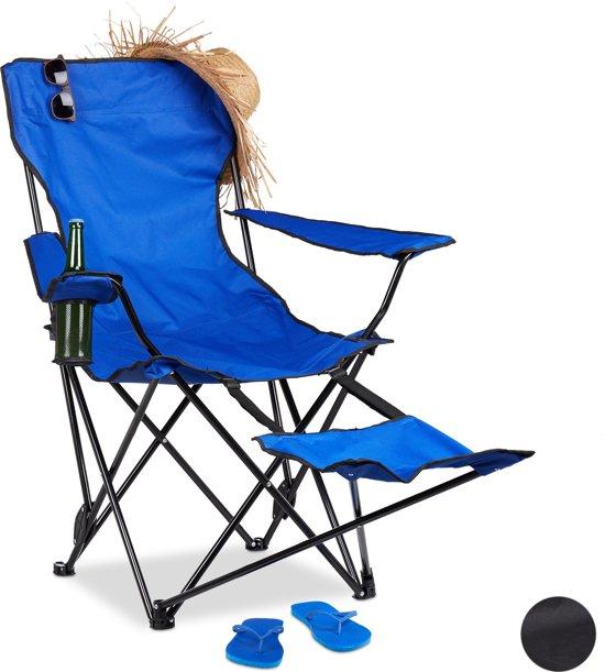 Vouwstoel Met Voetsteun.Relaxdays Campingstoel Opvouwbaar Voetensteun Klapstoel Tuinstoel Strandstoel Blauw