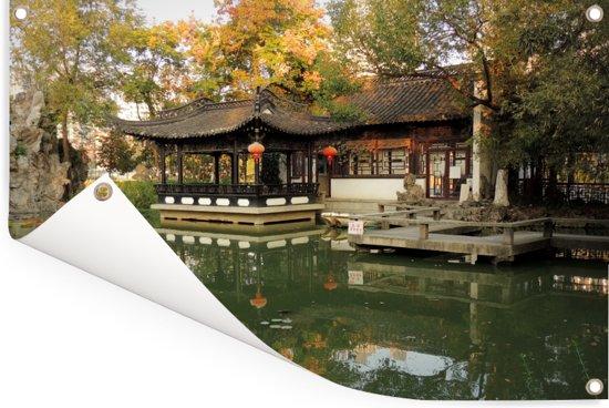 Oude gebouwen in een park van het Aziatische Hefei Tuinposter 120x80 cm - Tuindoek / Buitencanvas / Schilderijen voor buiten (tuin decoratie)