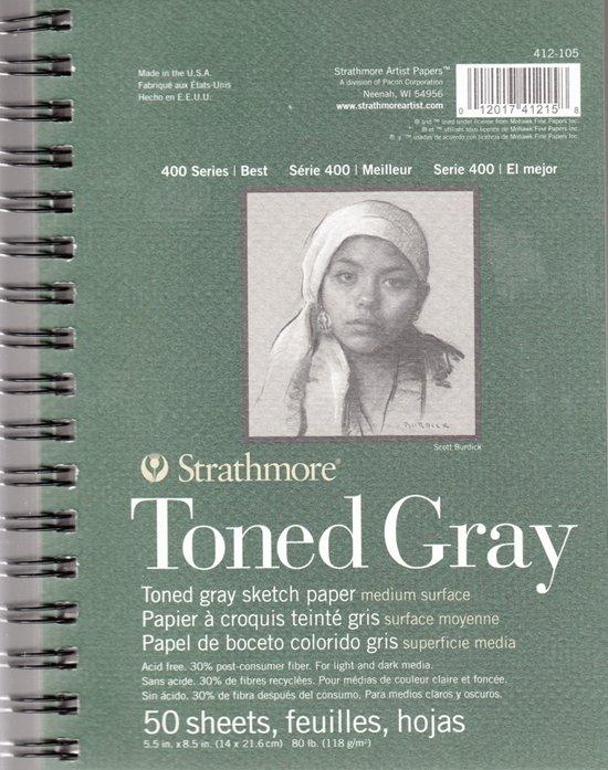 Strathmore tekenblok toned grey 14x21cm