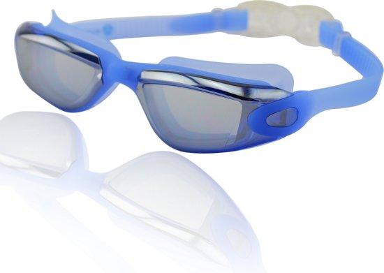 #DoYourSwimming - Zwembril incl. transportbox - »Orca-S« - anti-fog systeem, krasbestendige glazen met geïntegreerde UV-bescherming - Vanaf ca. 12 jaar & volwassenen - blauw