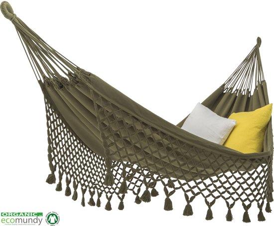 Luxe  hangmat met geknoopte franje - BIO katoen - Ecomundy Romance L Groen (130x200x320cm)