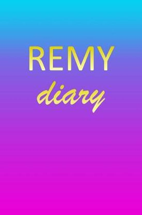 Remy: Journal Diary Personalized First Name Personal Writing Letter R Blue Purple Pink Gold Effect Cover Daily Diaries for J