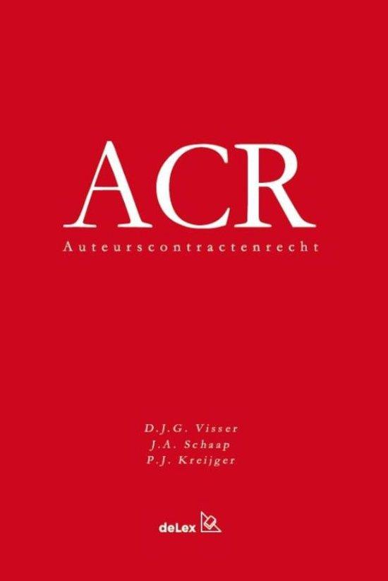 Boek cover Auteurscontractenrecht (ACR) van Dirk Visser (Paperback)