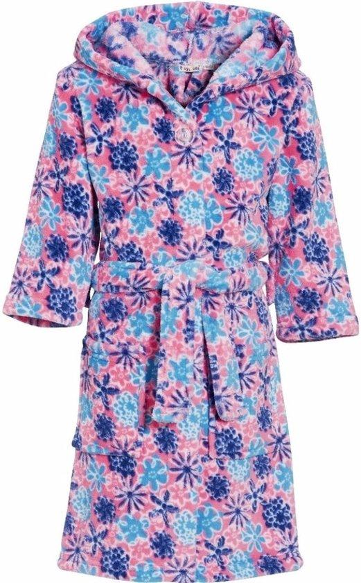 Meisjes badjas roze met bloemen 146/152 (11-12 jr)