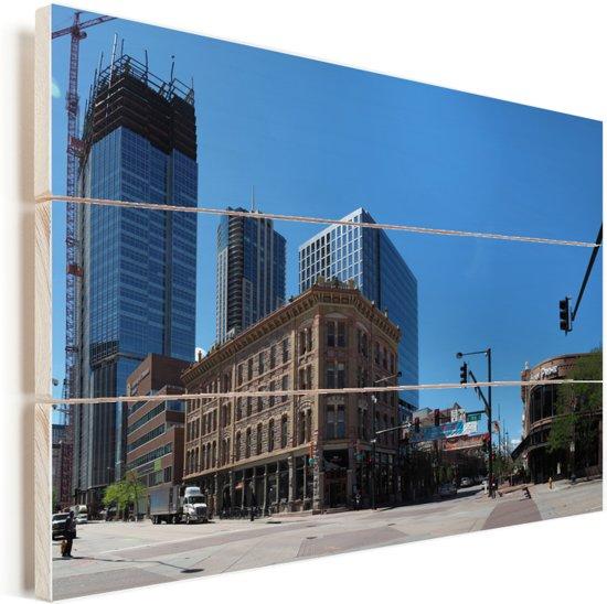 Een panoramisch zicht op de Larimer Street in het centrum van  het Amerikaanse Denver Vurenhout met planken 30x20 cm - klein - Foto print op Hout (Wanddecoratie)