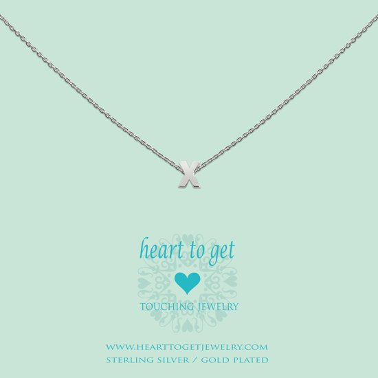 Heart to get Inital, silver,  letter X
