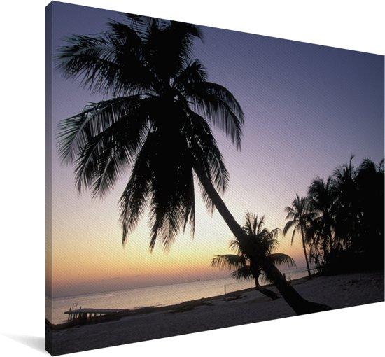 Zonsondergang aan de kust van Grand Cayman met prachtige palmbomen Canvas 120x80 cm - Foto print op Canvas schilderij (Wanddecoratie woonkamer / slaapkamer)