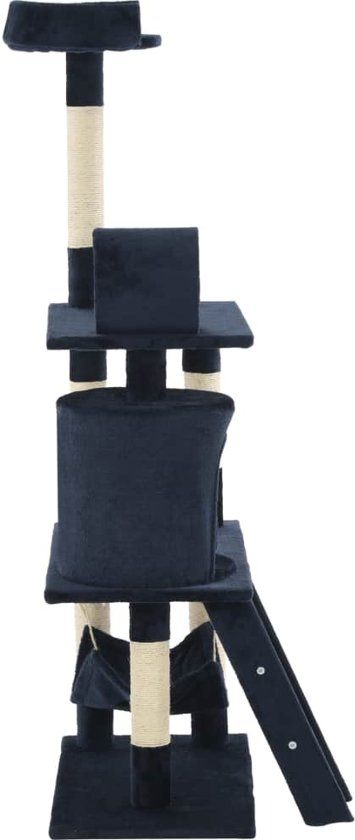 vidaXL Kattenkrabpaal met sisal krabpalen 140 cm donkerblauw