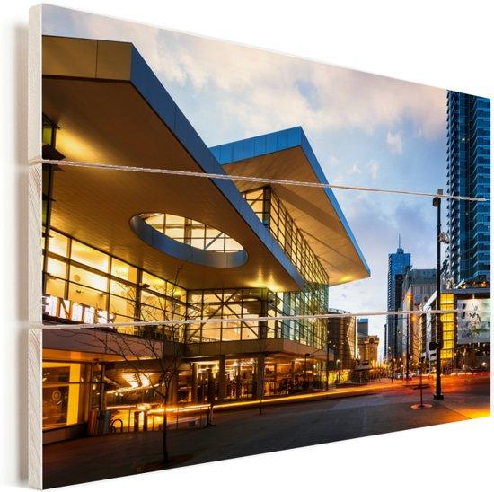 Het Convention Center van Denver in de Verenigde Staten Vurenhout met planken 30x20 cm - klein - Foto print op Hout (Wanddecoratie)