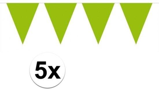 5 stuks Vlaggenlijnen/slingers XXL limegroen 10 meter