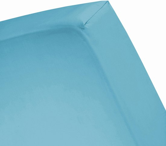 Damai - Hoeslaken hoge hoek (tot 35 cm) - Katoen - 180 x 220 cm - Turquoise