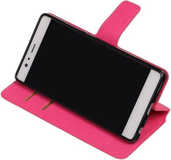 BestCases.nl Roze Huawei P9 Lite TPU wallet case booktype hoesje HM Book in Sint Odiliënberg