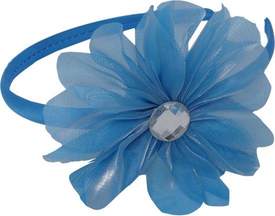 Jessidress Haarband Meisjes Haar Diadeem met grote Haarbloem en strass - Blauw
