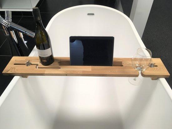 Houten Badplank Tuba (links) - Tablet houder - Boek houder - luxe badkamer product om te ontspannen - cadeau voor hem of haar - universeel - origineel Sinterklaas cadeau - vrolijk Kerstfeest
