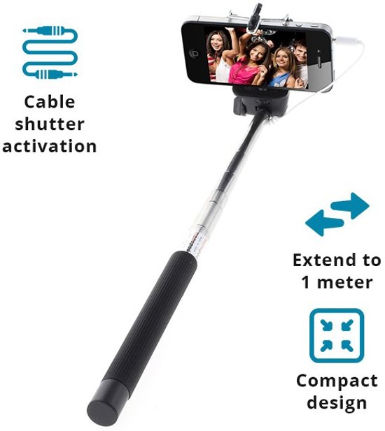 qmust compacte selfie stick met kabel tot meter voor iphone. Black Bedroom Furniture Sets. Home Design Ideas
