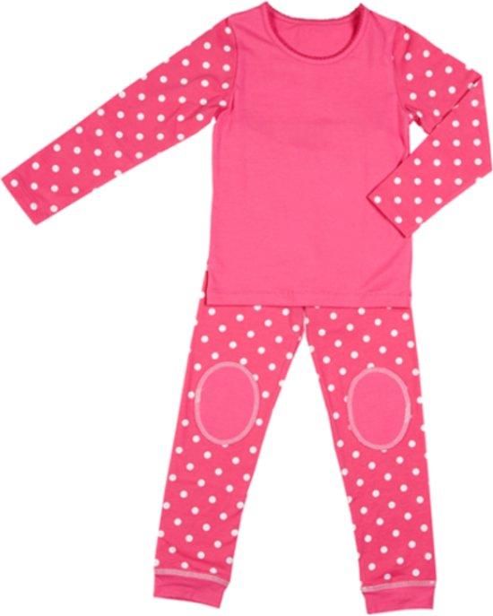 Corazon biologisch  meisjespyjama roze polka dot - Maat 116/122