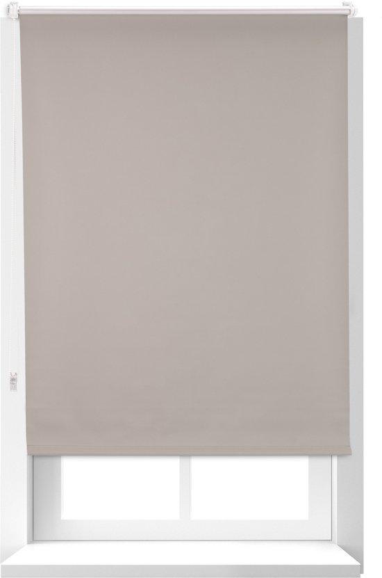 relaxdays verduisterend rolgordijn - thermo - warmtewerend - met klemmen - ketting - bruin 80x160cm