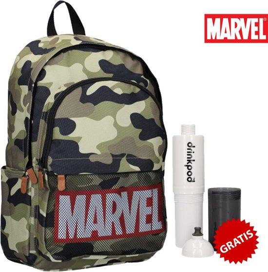 Marvel Dedication Army Kinderrugzak - Army + Gratis Drinkpod Drinkfles 500ml